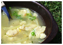 Austrian cheesenockerl soup