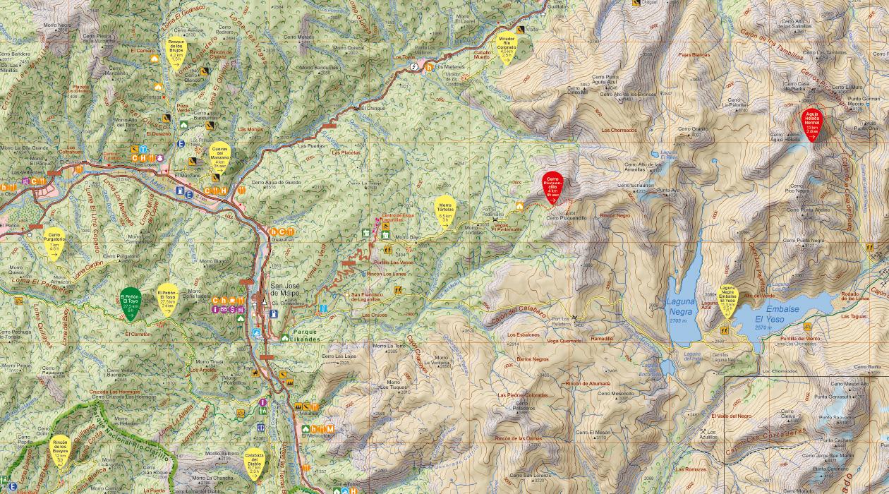 mapas ruteros y de trekking de todo Chile
